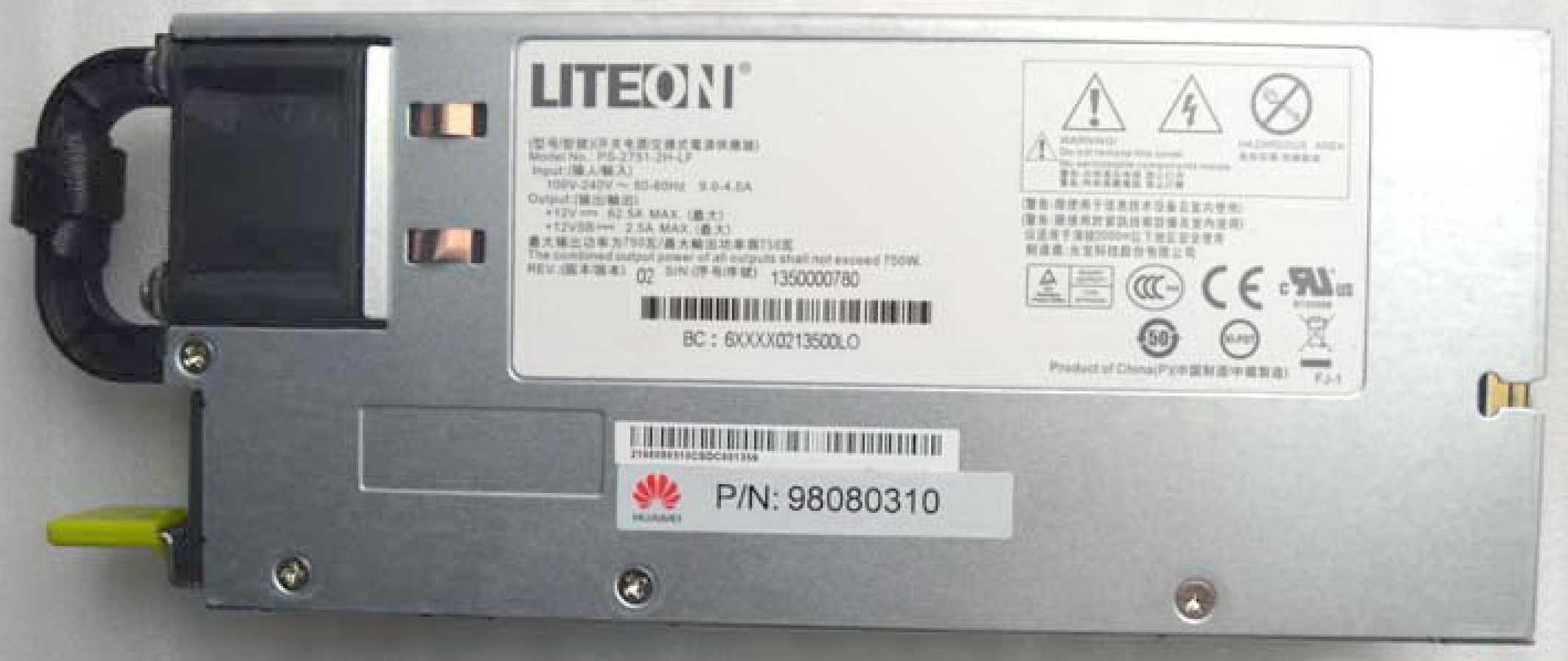 LITEON  PS-2751-2H-LF  750W 光宝开关电源,交换式电源供应器,热插拔电源模块,冗余电源模块 R520G7联想服务器电源模块98080310  RH1285  RH1288V2  RH2288H RH2285V2华为服务器电源模块批发